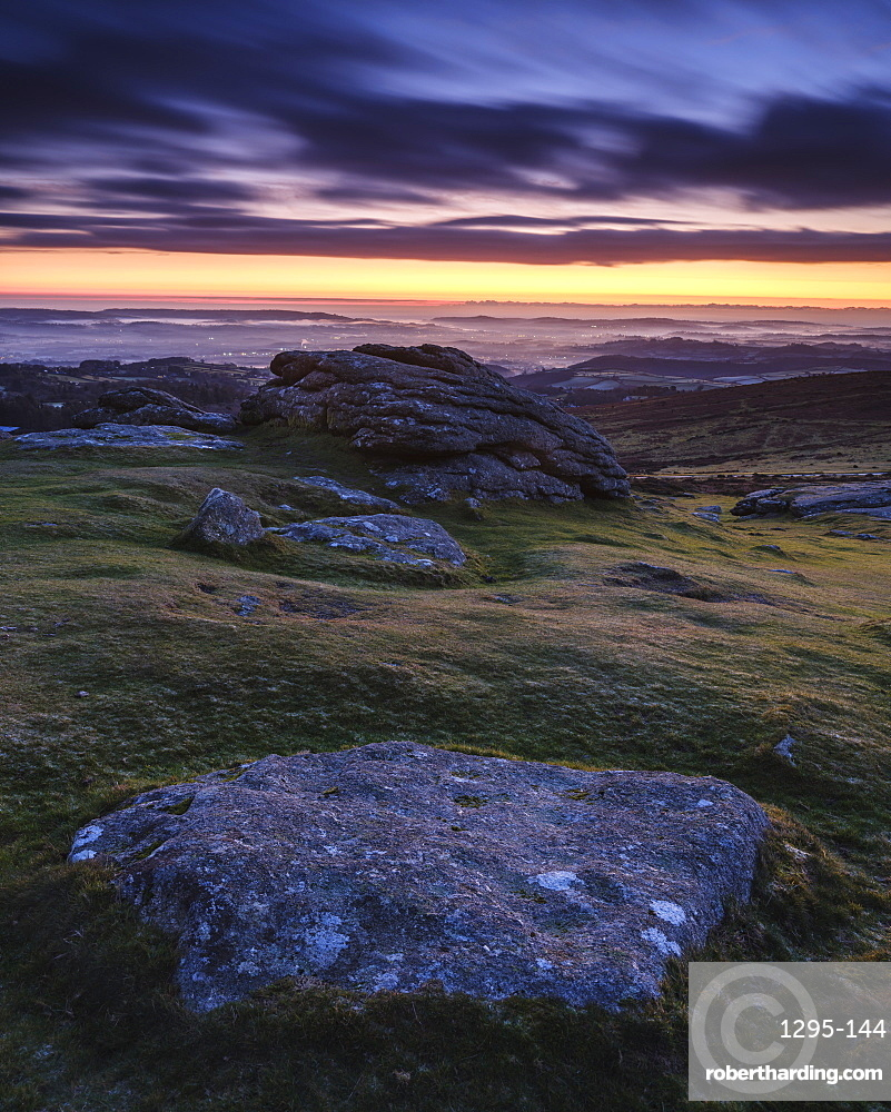 Dawn viewing East with mist in valleys, Dartmoor National Park seen from Haytor, Bovey Tracey, Devon, England, United Kingdom, Europe