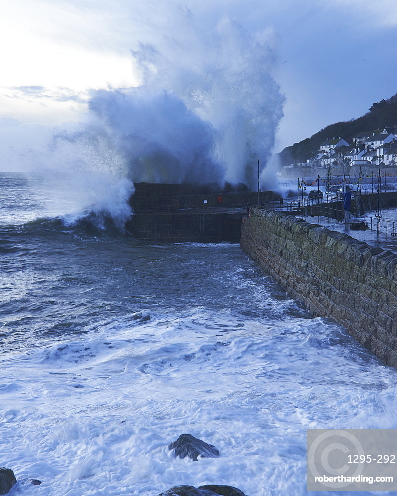 Winter storm at the fishing village of Mousehole, Cornwall, England, United Kingdom, Europe