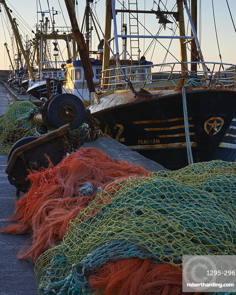 Trawlers alongside and nets, Newlyn, Cornwall, England, United Kingdom, Europe