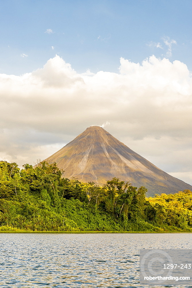 Lake Arenal and Volcano Arenal, in Arenal National Park, Alajuela Province, San Carlos, Costa Rica, Central America