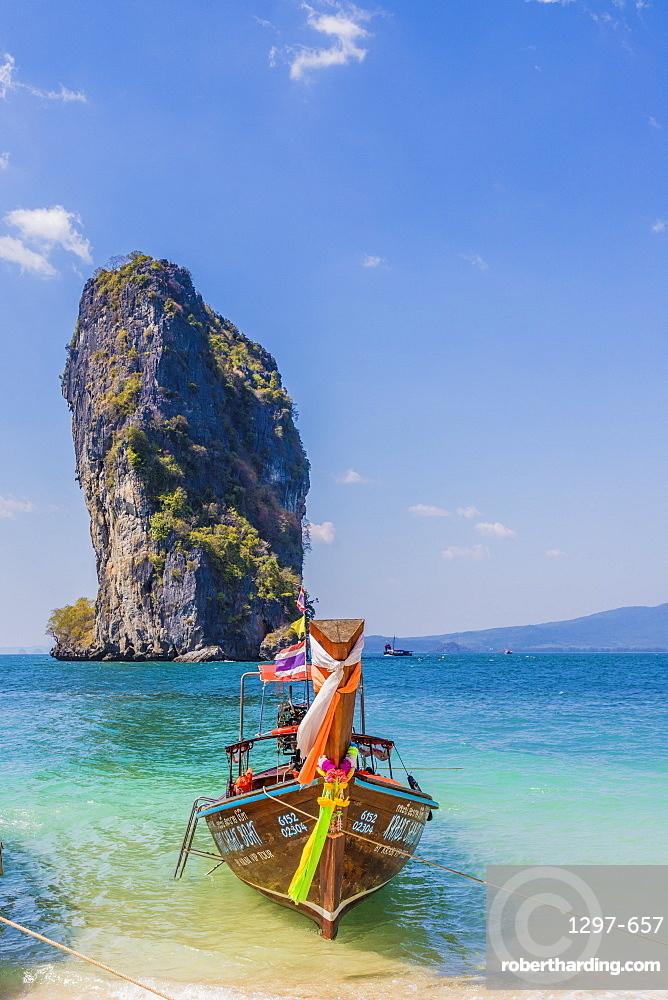 A long tail boat on Poda Island in Ao Nang, Krabi, Thailand, Southeast Asia, Asia