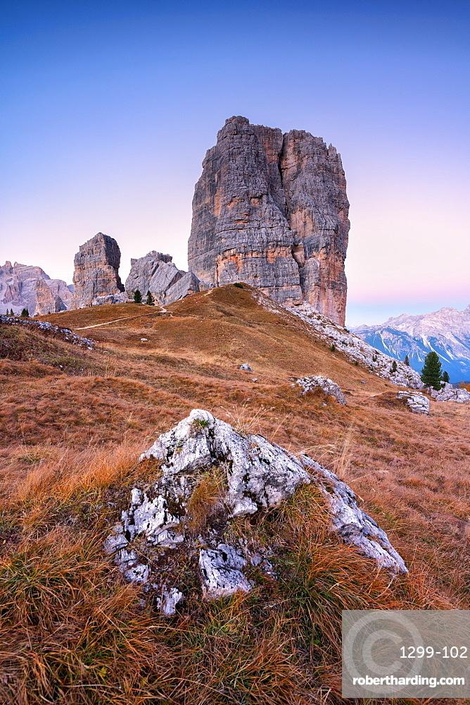 Blue Hour at 5 Torri (Cinque Torri), Cortina d'Ampezzo, Belluno province, Veneto, Italy, Europe