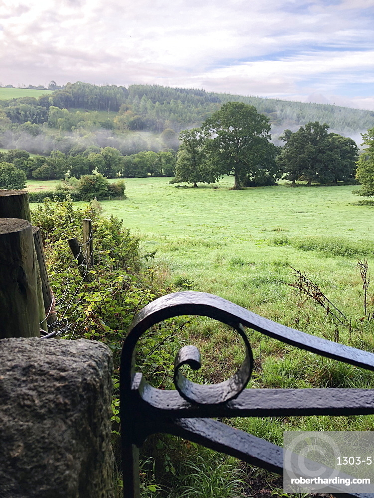 View over farm fields, Oakhampton, Devon, England, United Kingdom, Europe