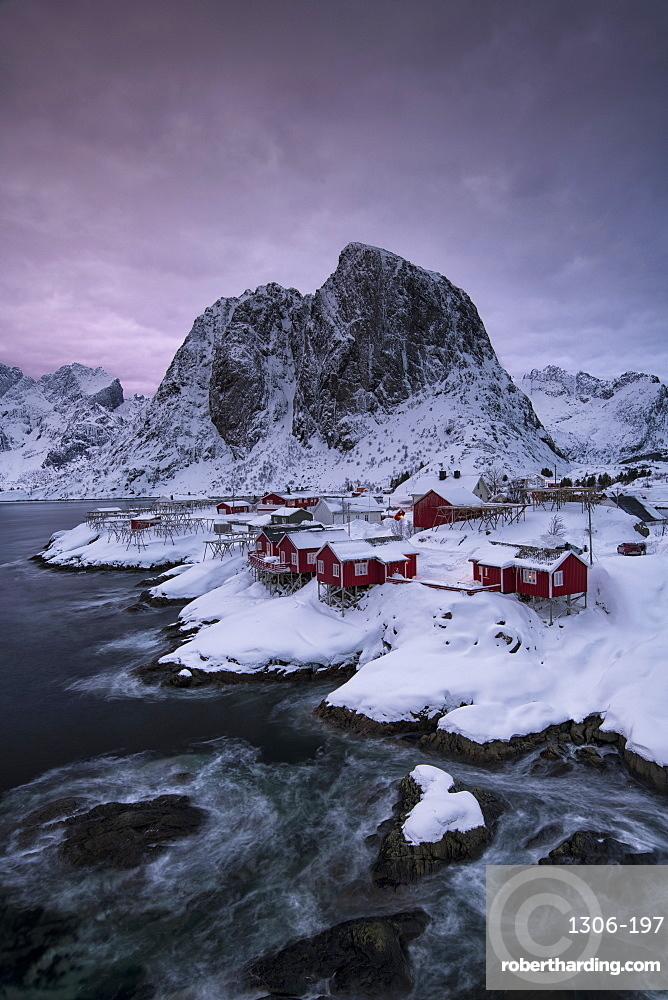 The Village of Hamnoy in a winter, Reine, Lilandstindan, Moskenesoya, Lofoten, Nordland, Arctic, Norway, Europe