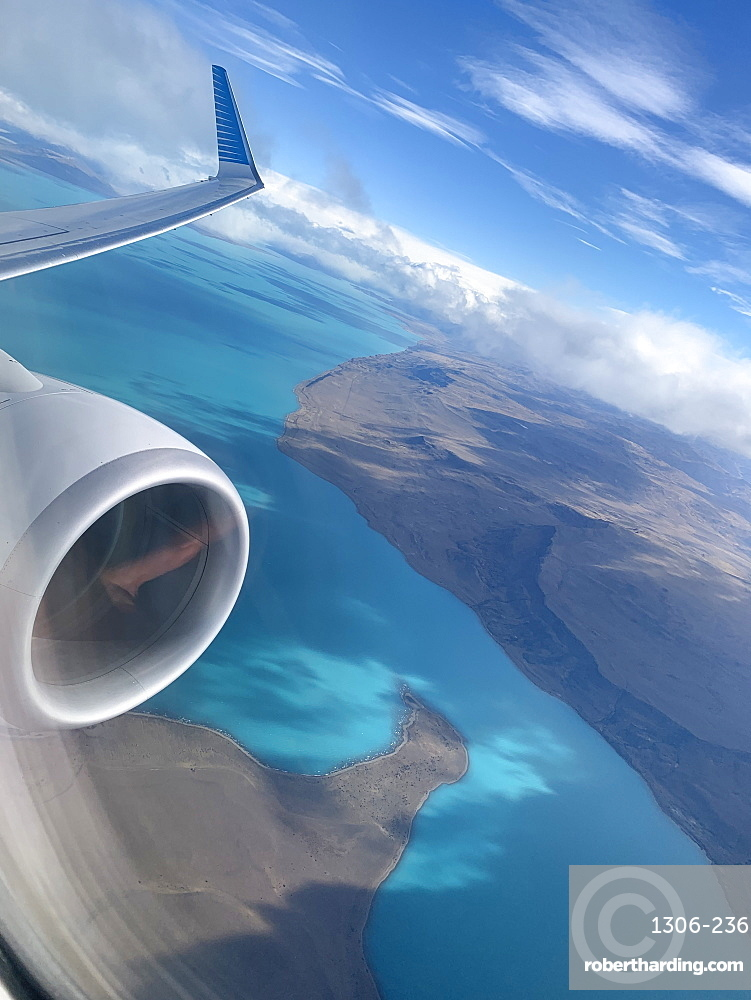 Flying over Lake Argentina in El Calafate, Patagonia, Argentina, South America