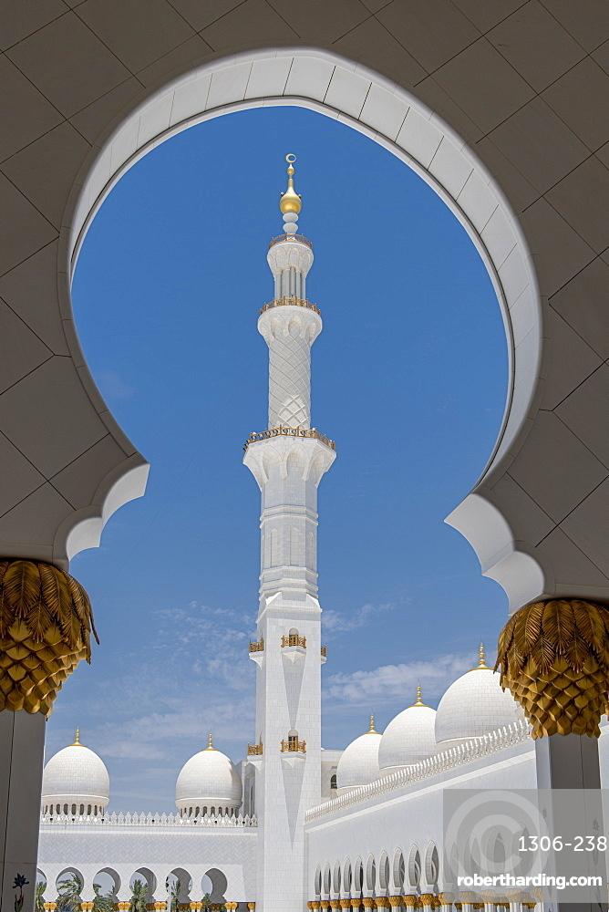 Ornate arches of Sheikh Zayed Grand Mosque, Abu Dhabi, United Arab Emirates, Middle East