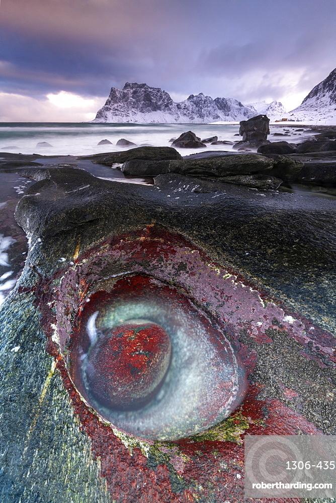 Unusual rock formation at Uttakleiv Beach, Vestvagoy, Lofoten Islands, Nordland, Norway, Europe