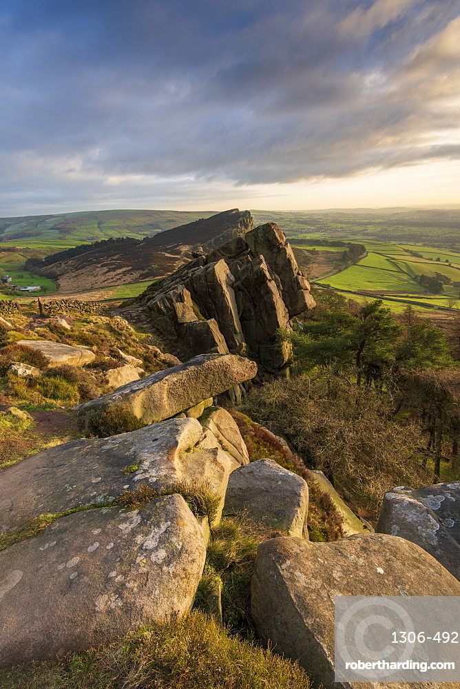 The view of Hen Cloud, Peak District National Park, Staffordshire, England, United Kingdom, Europe