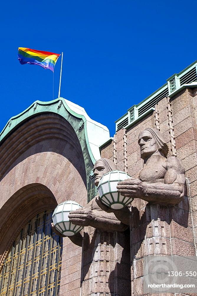 The facade of Central Railway Station, Rautatientori Metro Station, Helsinki, Finland, Scandinavia, Europe