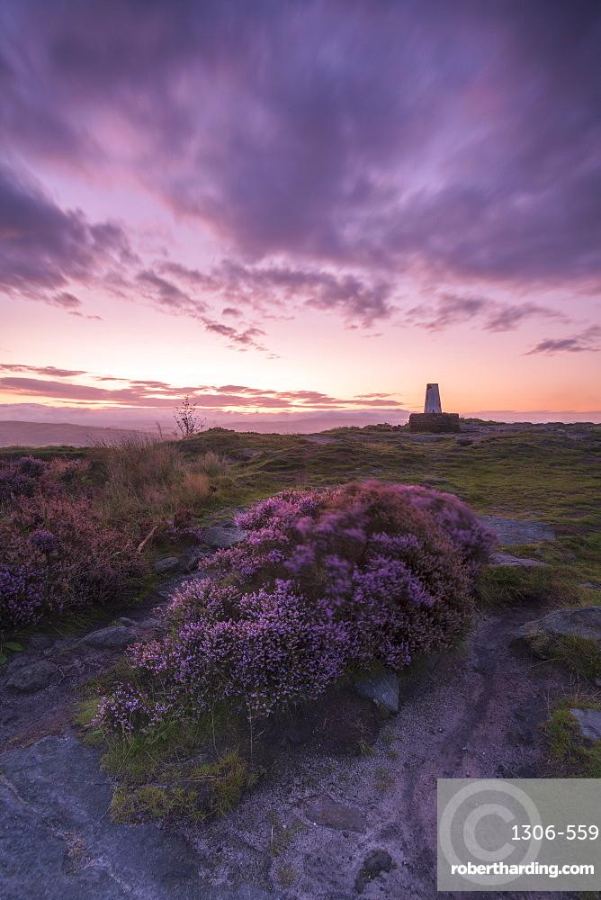 Sunrise at Cloudside trig point, Congleton, Cheshire, England, United Kingdom, Europe