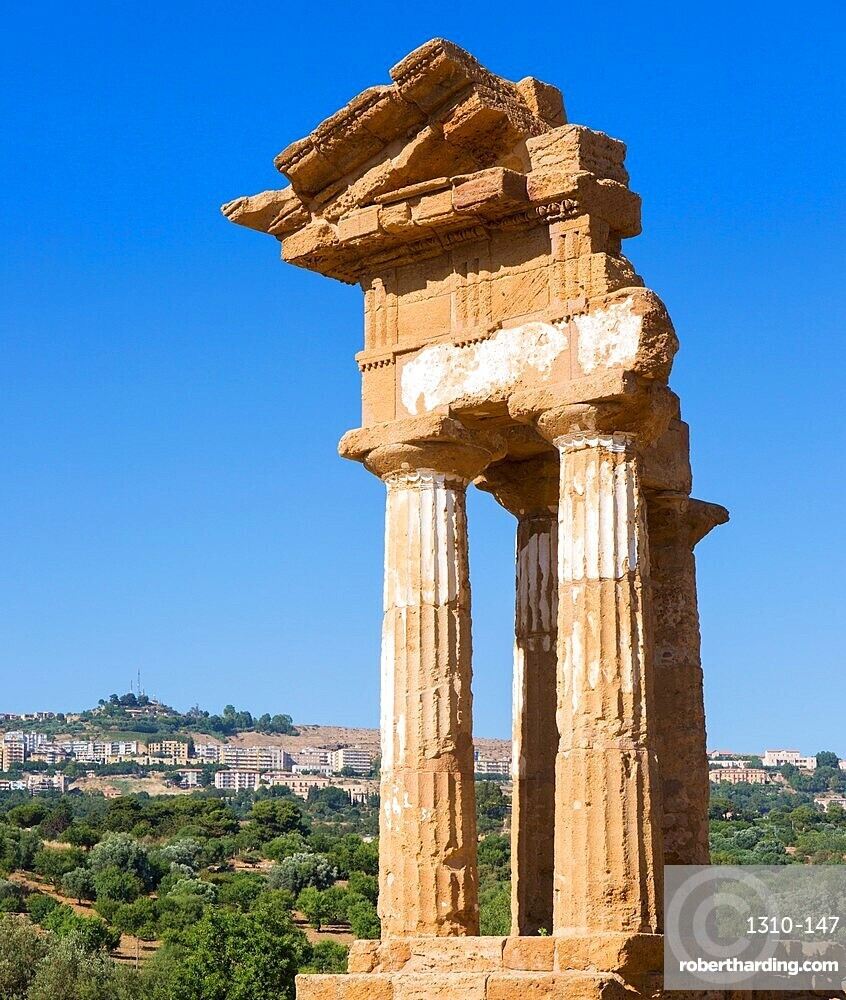 Reconstructed section of the Temple of Castor and Pollux in the UNESCO listed Valley of the Temples, Agrigento, Sicily, Italy