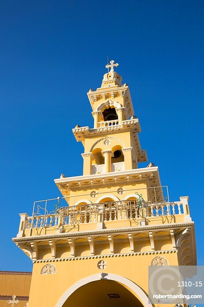Colourful bell-tower of the Greek Orthodox church, Paleohora (Paleochora), Hania (Chania), Crete, Greek Islands, Greece, Europe