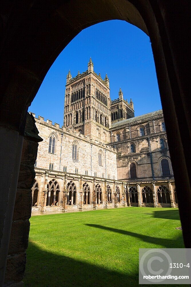 View across cloister lawn to the twin western towers of Durham Cathedral, Durham, County Durham, England, United Kingdom, Europe