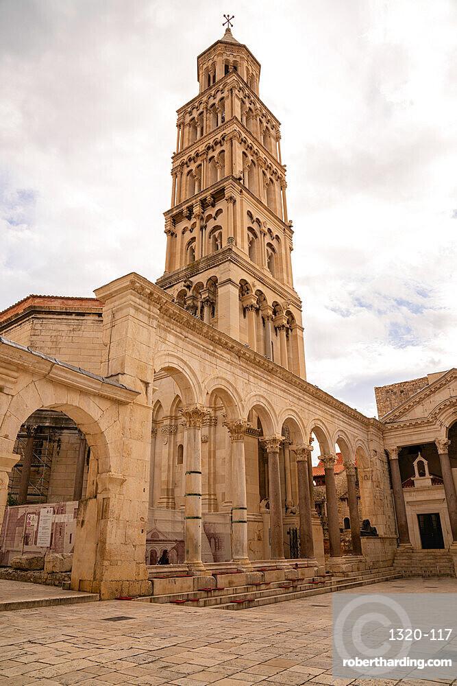 Saint Domnius Bell Tower in old historic downtown Split, Croatia.