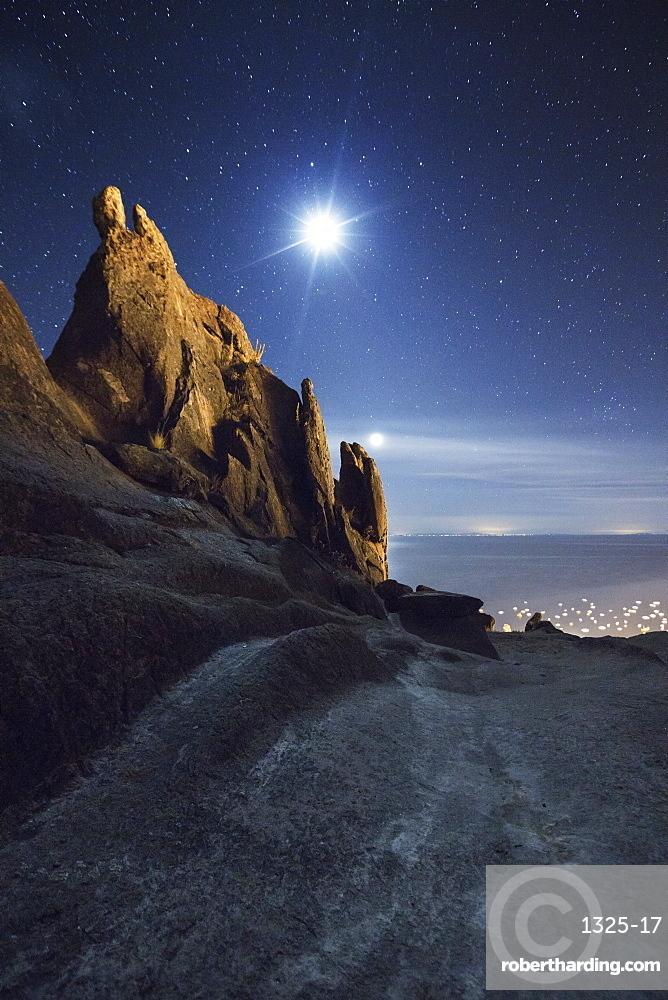 Horca del Inca ruins at night near Copacabana, La Paz Department, Bolivia, South America