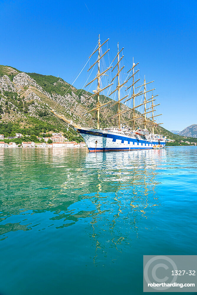 Royal Clipper, the Worlds largest full-rigged sailing ship, Kotor, Montenegro, Europe