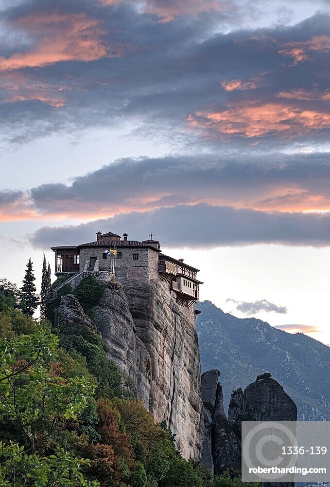 Clouds at sunset over Roussanou (St. Barbara) Monastery, Meteora, UNESCO World Heritage Site, Thessaly, Greece, Europe