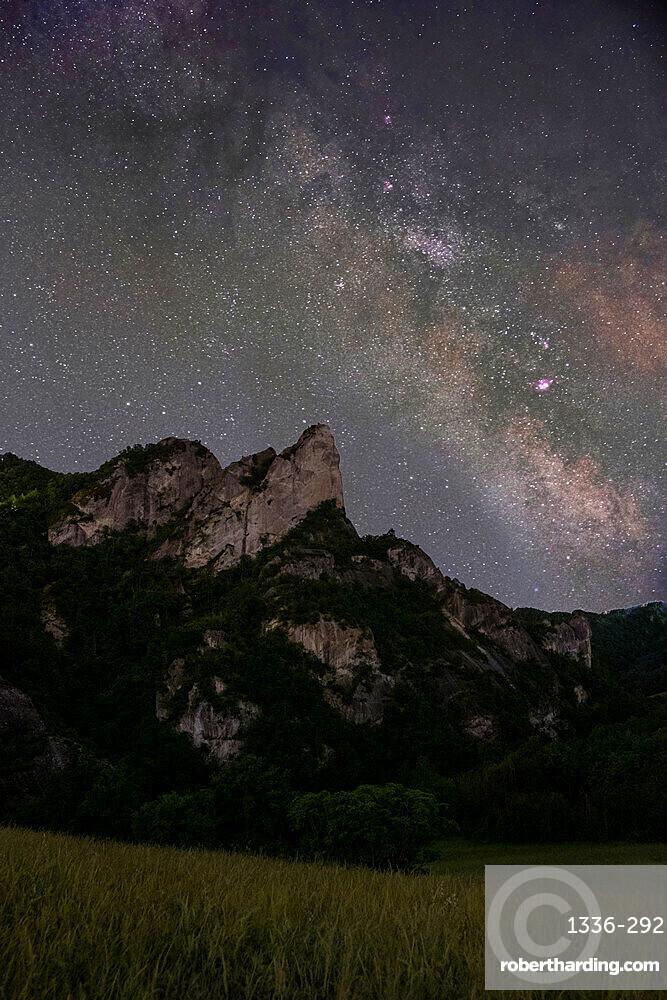 Milky Way above Sassi di Roccamalatina rocks, Emilia Romagna, Italy, Europe