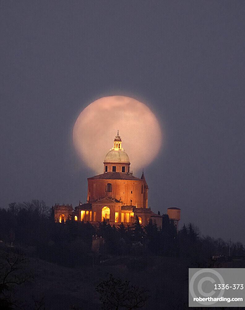 Moon rise behind the San Luca Basilica, Bologna, Emilia Romagna, Italy, Europe