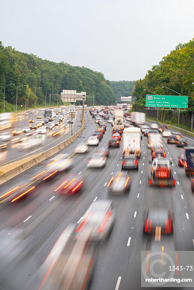 Rush hour traffic on the Washington DC Capitol Beltway near Bethesda, Maryland, United States of America, North America