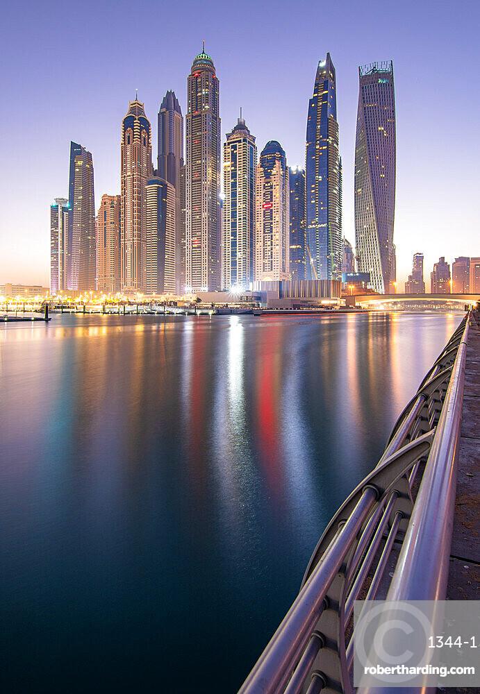 Sunrise in Dubai Marina, Dubai, United Arab Emirates, Middle East