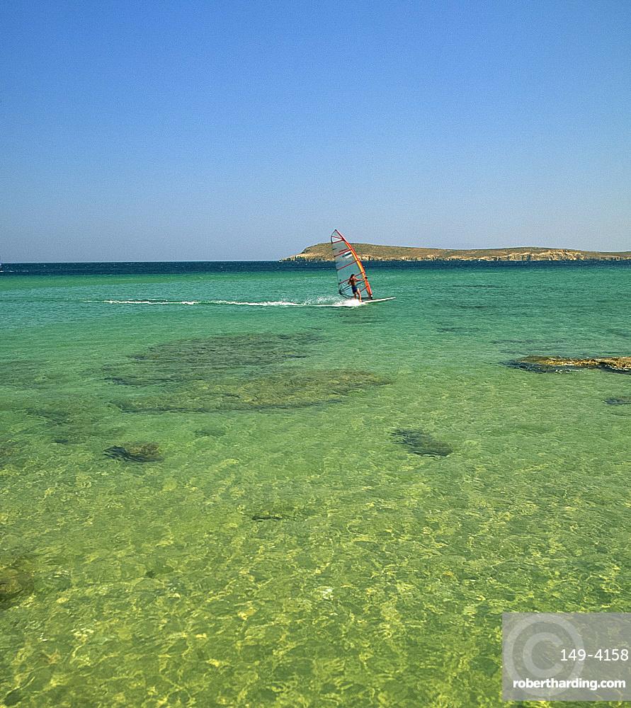 Windsurfer, Golden Beach, Paros, Cyclades, Greek Islands, Greece, Europe