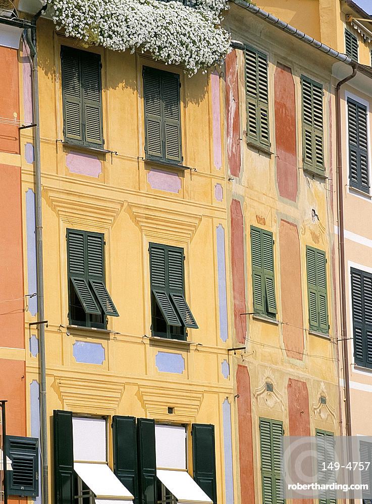 Pastel painted buildings and windows, Portofino, Liguria, Italy, Europe