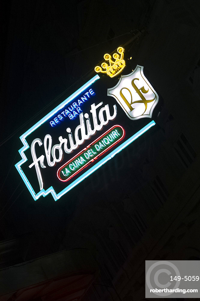 Neon sign for the Floridita Bar and Restaurant famous for its frozen daiquiries, Havana, Cuba, West Indies, Central America