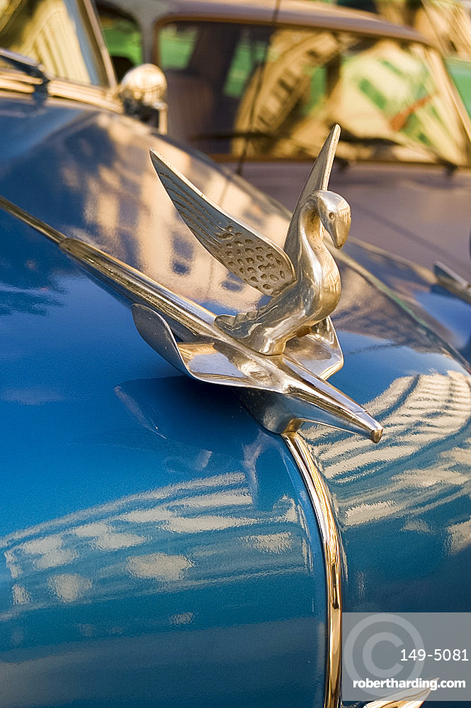 A hood ornament (mascot) on the bonnet of a vintage American Chevrolet, Havana, Cuba, West Indies, Central America