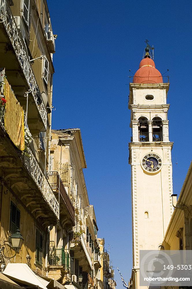 The belltower of St. Sprydonas in Corfu Old Town, Corfu, Ionian Islands, Greek Islands, Greece, Europe