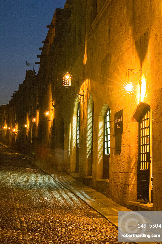 The Street of the Knights at night in Rhodes Town, Rhodes, Dodecanese, Greek Islands, Greece, Europe