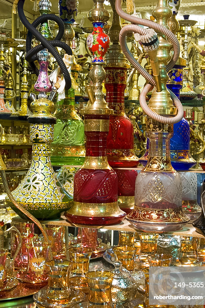 Colourful glass, ceramic and brass water pipes for sale in the Grand Bazaar, Istanbul, Turkey, Europe, Eurasia