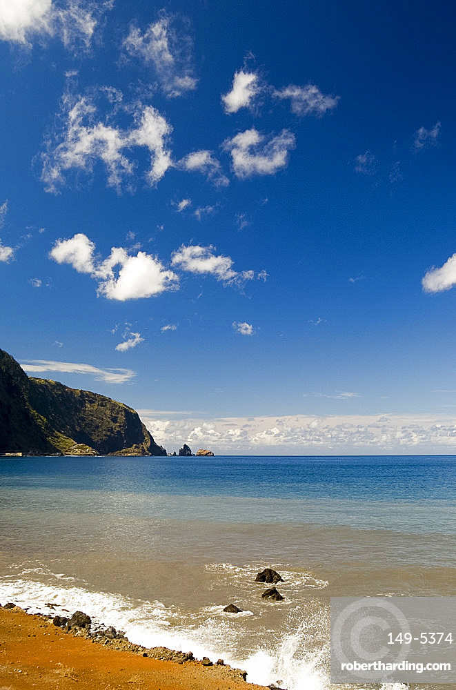 A view of rocks cliffs and sea from the north coast road, island of Madeira, Portugal, Atlantic, Europe