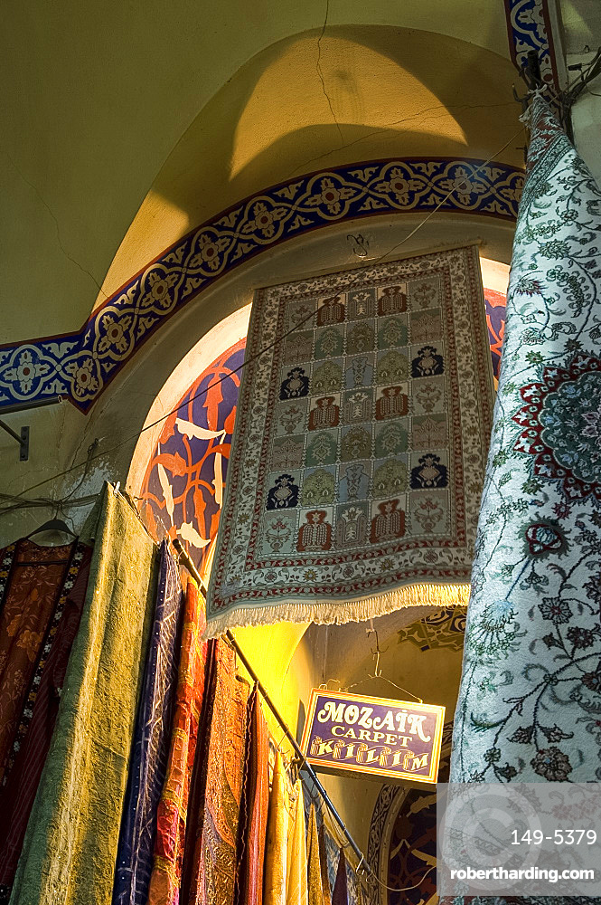 Carpets for sale in the Grand Bazaar, Istanbul, Turkey, Europe, Eurasia