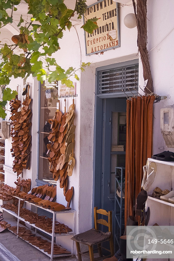 Hand made sandals for sale in the craft village of Kritsa, Crete, Greek Islands, Greece, Europe