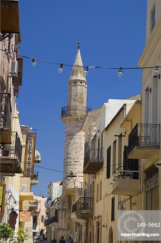 The Mosque of Gazi Husein Pasha in the old town section of Hania, Crete, Greek Islands, Greece, Europe