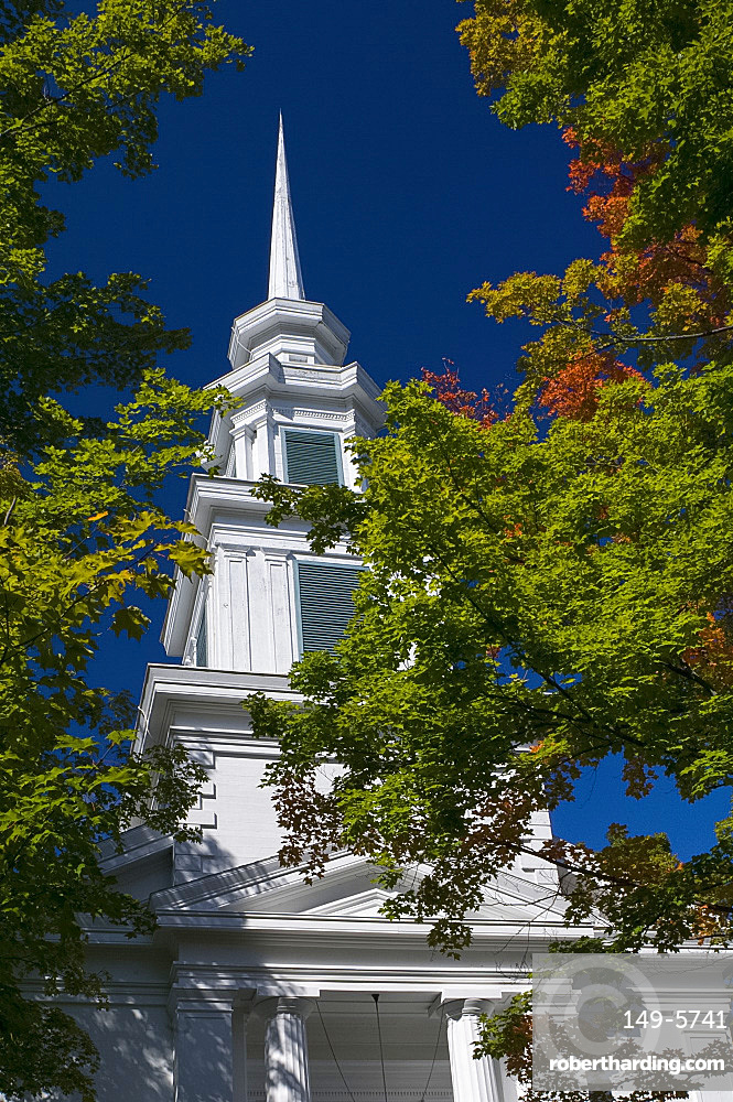 The steeple of the Presbyterian Church in Rensselaerville, New York State, United States of America, North America