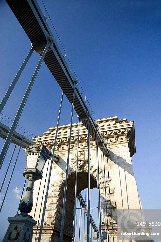 The Chain Bridge over the Danube River, Budapest, Hungary, Europe
