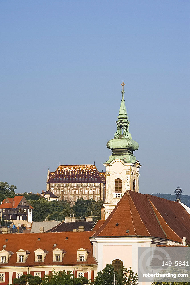 Churches on the Buda side, Budapest, Hungary, Europe