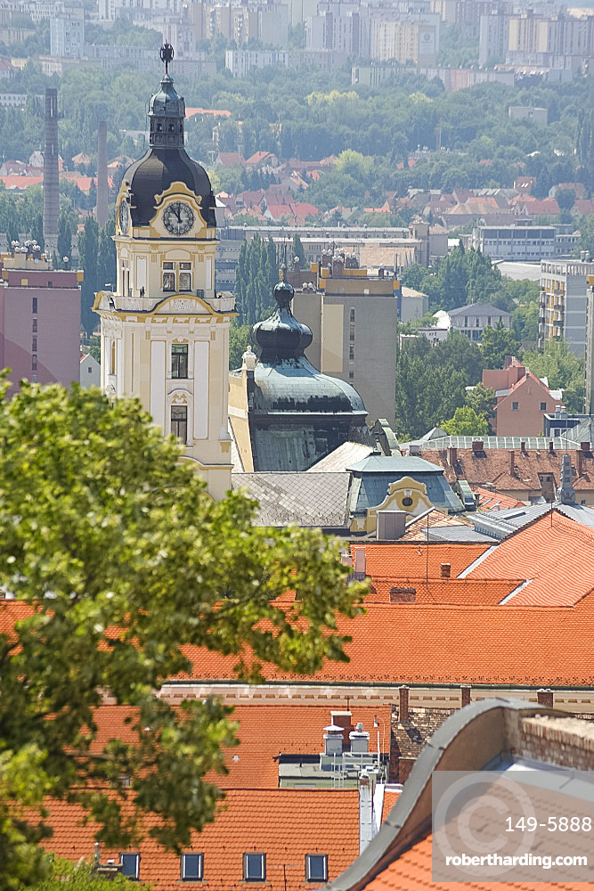 An aerial view of rooftops in the old quarter, Pecs, Hungary, Europe