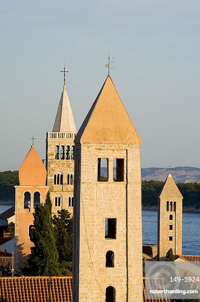 The four medieval bell towers of Rab, island of Rab, Kvarner region, Croatia, Europe