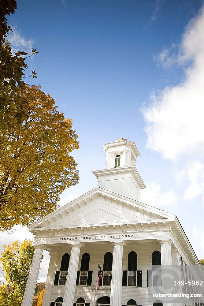 The Windham County Courthouse, a Greek revival style building in Newfane, Vermont, New England, United States of America, North America
