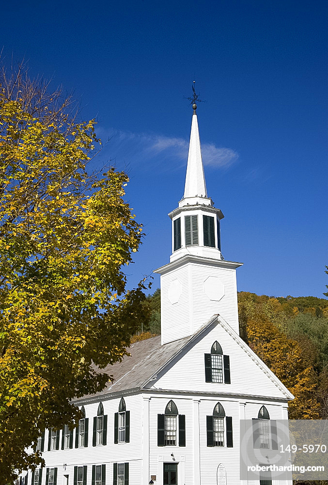 Traditional white church surrounded by autumn foliage in Townshend, Vermont, New England, United States of America, North America