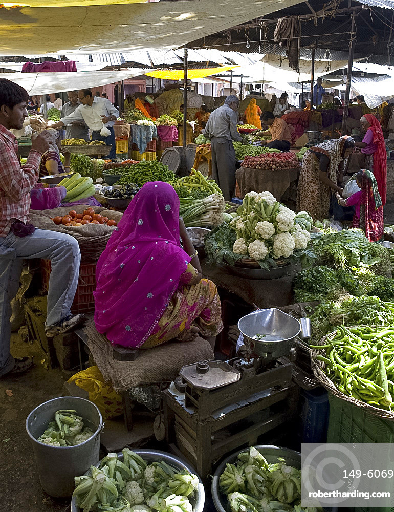 A food market in Pushkar, Rajasthan, India, Asia