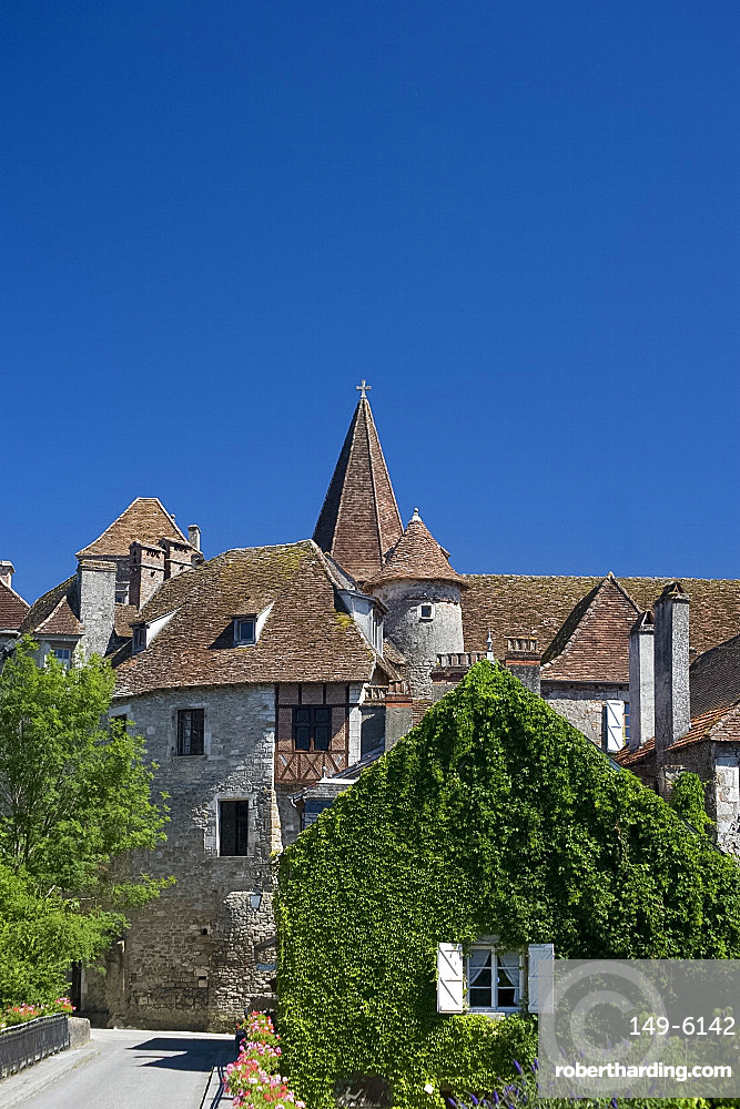 A view of the picturesque village of Carennac and its typical Quercy architecture situated on the banks of the Dordogne River, Dordogne, France, Europe