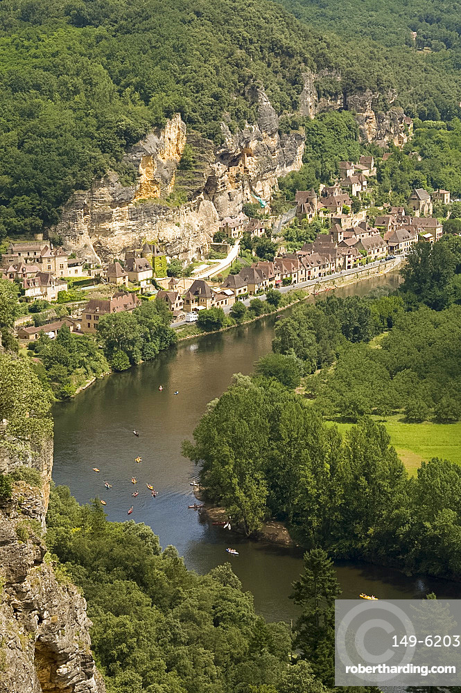An aerial view of the Dordogne River and La Roque-Gageac from Les Jardins de Marqueyssac, Dordogne, France, Europe
