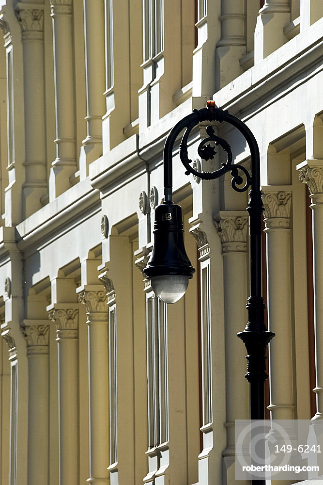 A traditional iron street lamp on Mercer Street in the Soho section of Manhattan, New York City, New York State, United States of America, North America