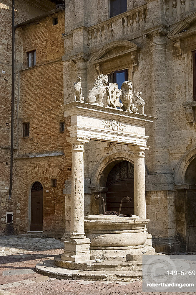 An old ornate marble well in Montepulciano, Tuscany, Italy, Europe