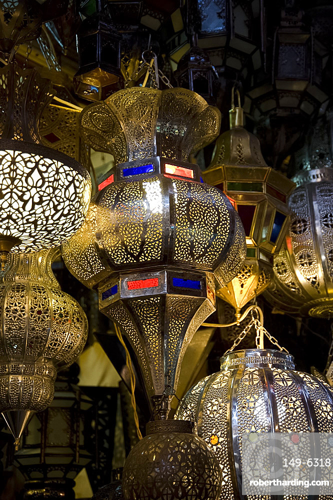 Brass lanterns for sale in the souk in Marrakech, Morocco, North Africa, Africa