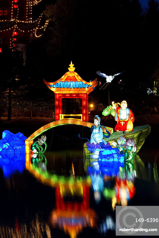 Chinese lanterns at the Magic of Lanterns Festival at the Montreal Botanical Garden, Montreal, Quebec Province, Canada, North America